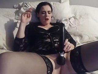 Lynsey smoking using her wand