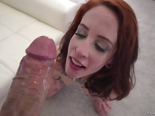 Sloppy blowjob followed apart from a immense cumshot for redhead Lilyan Red