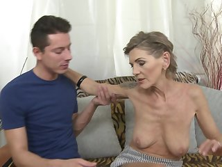 Underfed mature tattooed blonde Irenka S. gets her pussy pounded hard