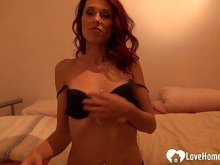 Amazing chick fingers her pussy in the long run b for a long time on camera