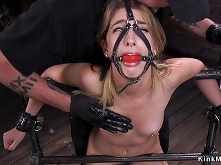 Gagged blindfolded blond hair coddle tormented in bondage