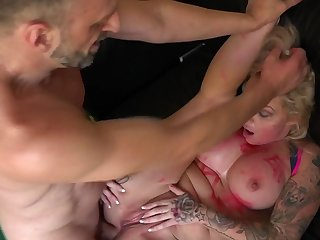 Busty milf anal fucked by means of a brutal BDSM lodging play