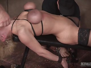Mature blonde in self-assertive heels Dee Williams abused by a handful of guys