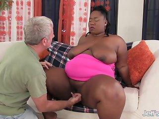 Fat Ebony Daphne Daniels Fucks a Grandpa