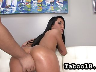 Mechanical straight haired brunette Sabrina Banks brags off her lubed booty with an increment of gives HJ