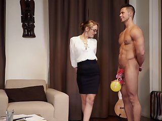 Strong and sizzling clothes-horse feeds Dominica Phoenix's pussy with his penis