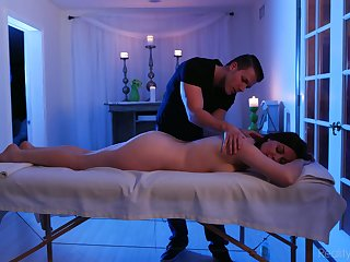 Sex-crazed masseur mad about stunning milf Coronate Syre and cums on her grab