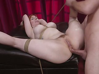 Awesome tied up busty redhead Lauren Phillips is hammered missionary style