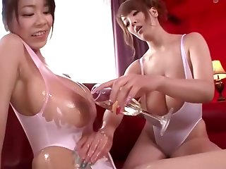 Hitomi Tanaka Ria Sakuragi Oil Up Their Obese Tits together with Drag inflate Some Cock