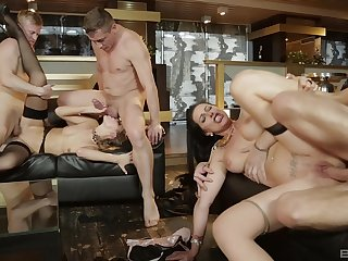 Reprobate sluts get laid in the matter of dirty scenes with a bunch of men