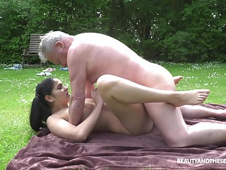 This hot young and old adventure comes to bring to a stop when he cums on her tits
