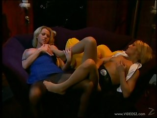 Busty lesbians tribbing and licking muff pie in nylons