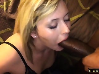 Attractive blonde milf takes a huge black cock in her frowardness