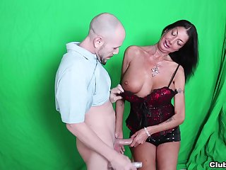 Dour slut with pierced nipples undressing plus jerking off a dude