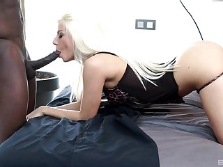 Blonde babe handles the BBC everywhere their way mouth and pussy