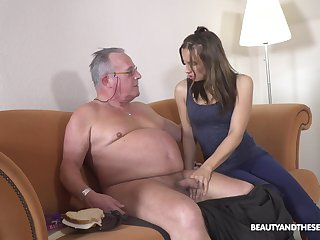 Filthy young chick Azure Angel hooks more with old big belly man
