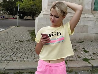 Amateur blonde Lika Star picked connected with added to gives a blowjob to a stranger
