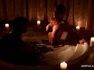 Erotic cherish making in the bathtub with fake boobs Brandi Adulate