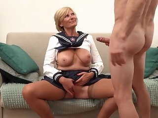 Platinum-Blonde grannie is always willing to open up her gams broad open and get banged, until she shoots a load