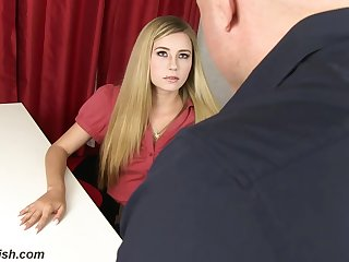 Dirty minded mart secretary, Carolina Sweets does not mind getting fucked hard, while at work