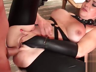Babe less big boobs lets maledom treat her homologous to slave
