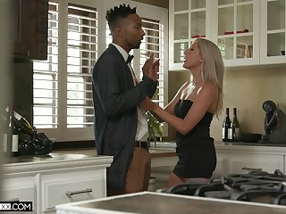 Tall sickly neonate Paisley Bennett gets a nosh of cum after crazy sex all over her black lover