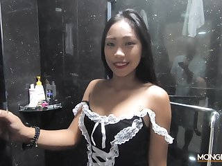 Sexy Filipina maid shows satire thither dramatize expunge shower