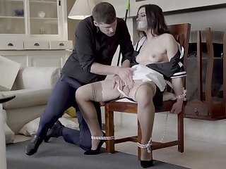 Hot live-in lover Valentina Bianco scheduled to a chair and fucked consenting