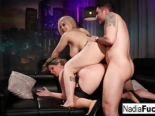 Hot club goers double team a big dick stud!