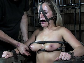 Submissive slut Dia Zerva gets their way pussy and twat punished in burnish apply BDSM room