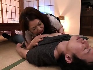 Horn-mad asian mature milf giving blowjob and russian