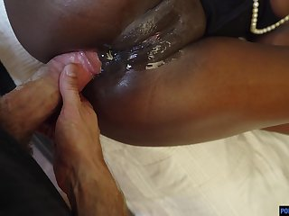 Black babe Noemie Bilas loves encircling acquire her butt fucked wide of vanilla cock