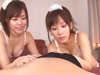 POV video of Japanese infant Minami Kojima giving a BJ with her friend