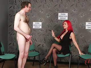 Naked man jerks off to the fullest extent a finally kinky Roxi Keogh drops her clothes