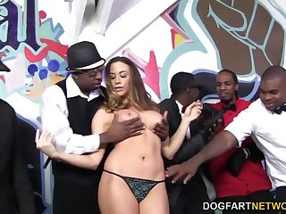 Standing in line black studs get solid blowjobs from Chanel Preston
