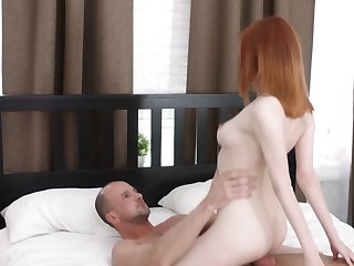 Petite redhead loves to have sex with doyen older dudes