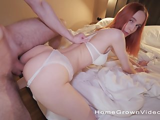 POV video of a hot ass redhead getting fucked in doggy and rabbi