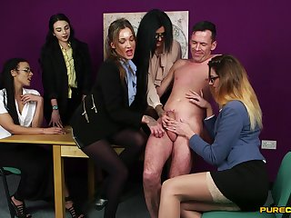 Aroused chicks share this dick respecting plain CFNM group kink