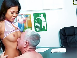 Cute Asian schoolgirl Vina Sky is fixing her grades with her pussy plus indiscretion