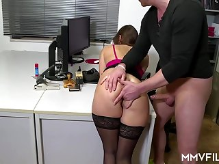 Sultry office nymph is frequently crippling ebony pantyhose and getting analed rigid, while at work