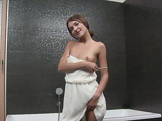 Small tits merely cutie Alexis Brill masturbates in the shower