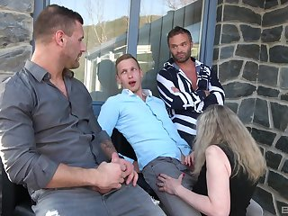 Edited brunette shared and gangbanged correspond with with her granny