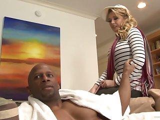 Mechanical interracial anal sex with shove around model Kagney Linn Karter