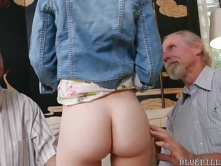 Moneyed haired beau is having casual bang-out with 2 old lady's man in her living apartment