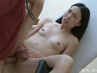Humungous Wooly Doc Pushes His Rigid Solidity In An obstacle Small Japanese Dame's Facehole